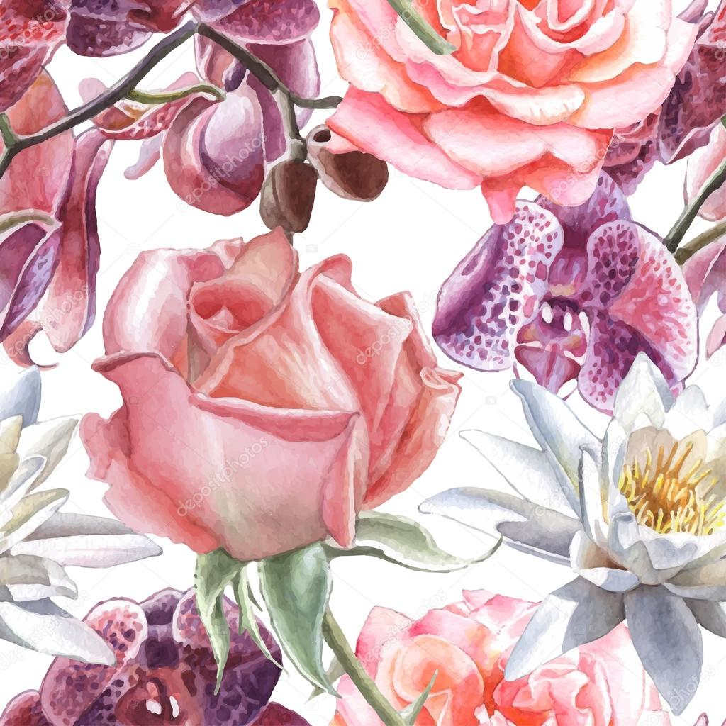 Seamless pattern with watercolor flowers. Rose, orchid and lily.
