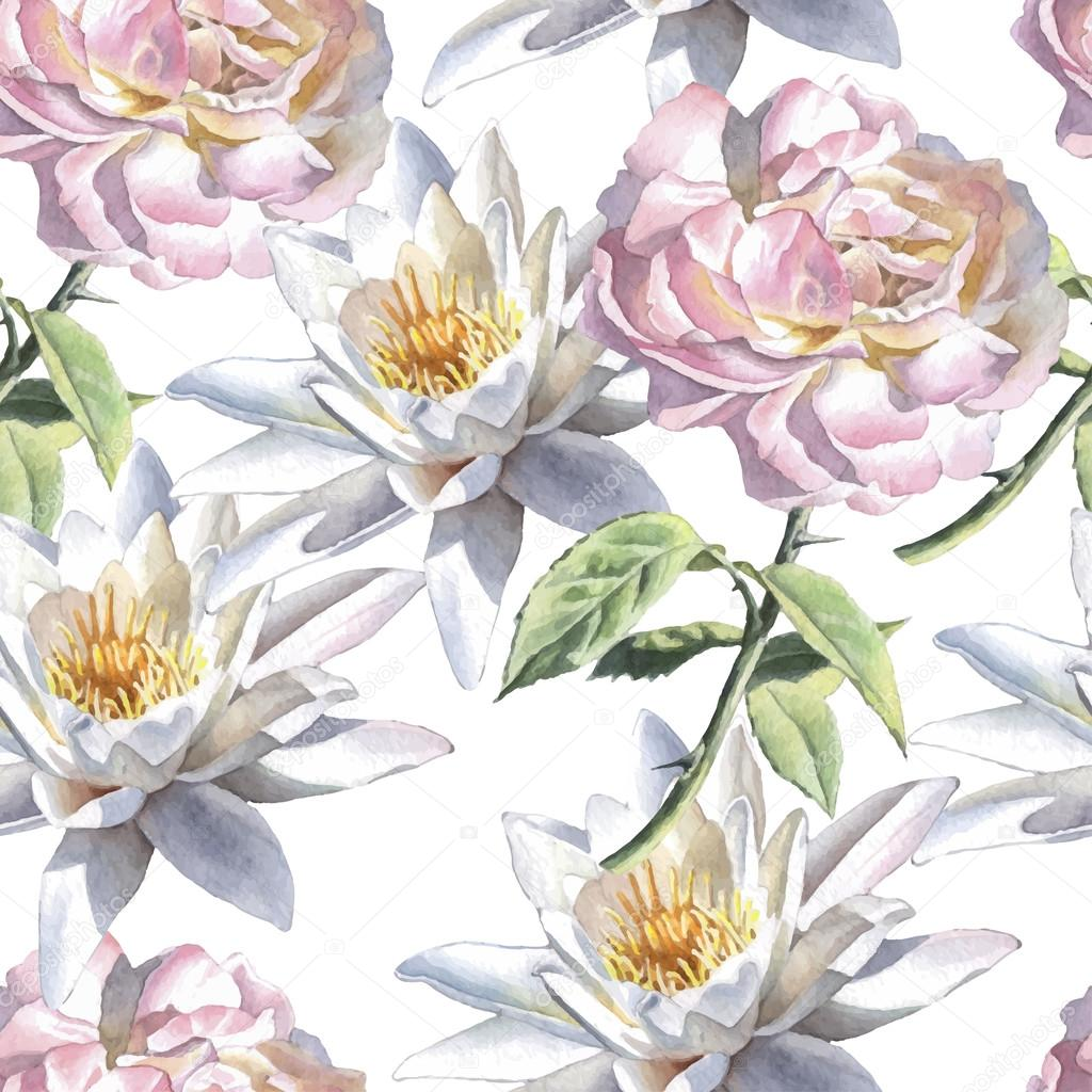 Seamless pattern with watercolor flowers. Rose and lily.