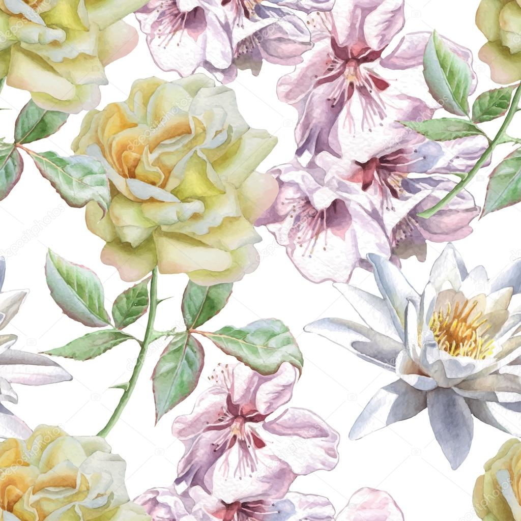 Seamless pattern with watercolor flowers. Rose, sakura and lily.