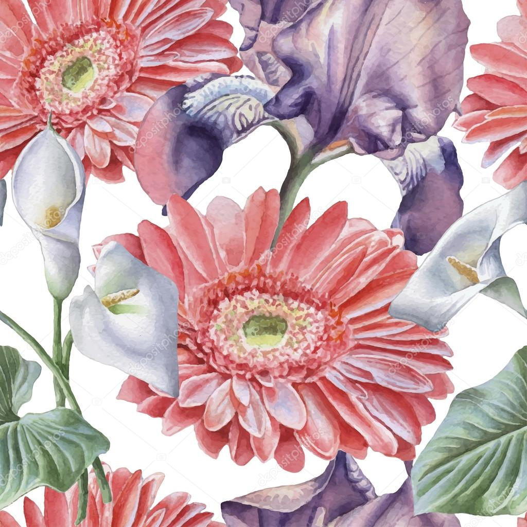 Seamless pattern with watercolor flowers. Iris. Gerbera. Calla.