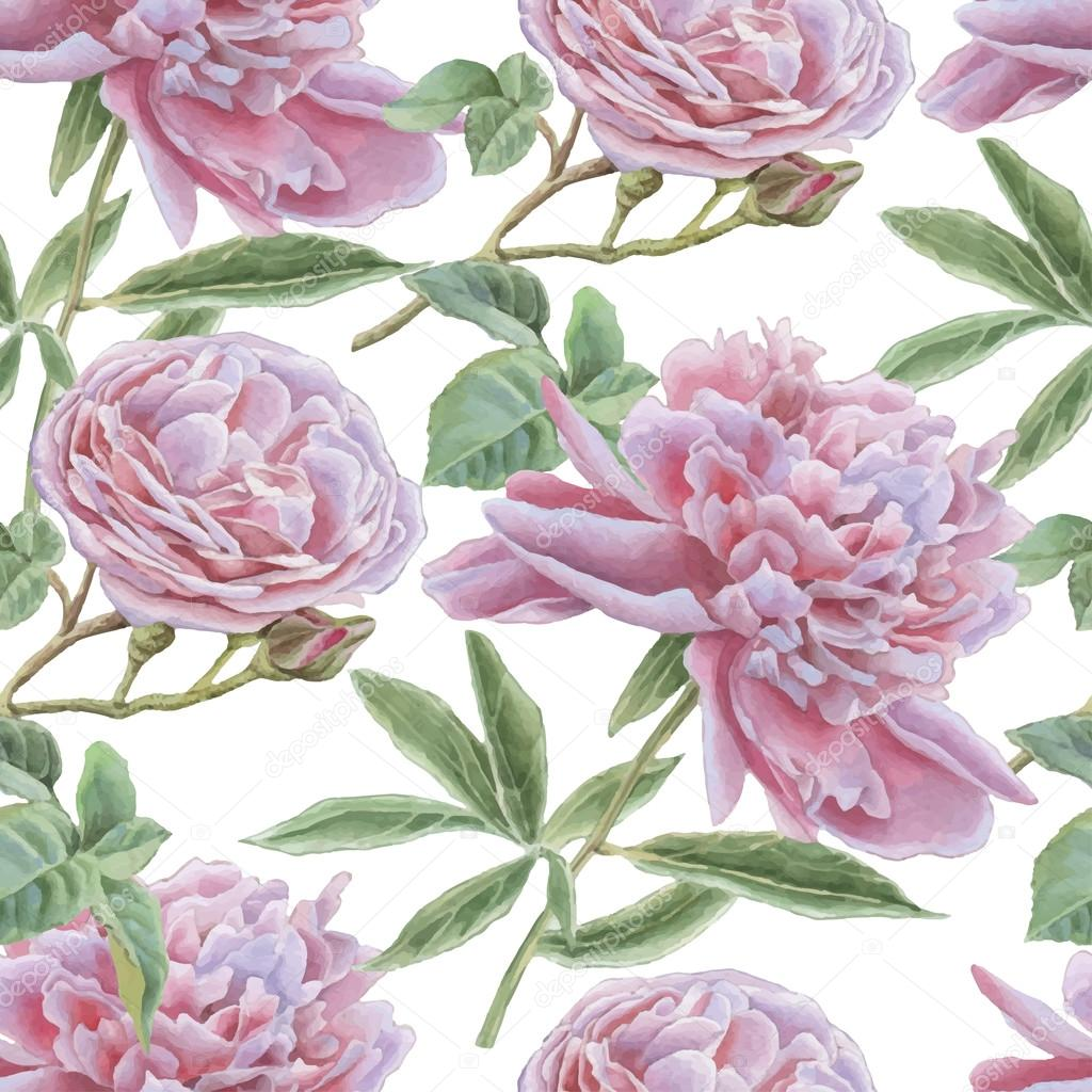 Seamless pattern with rose and peony.