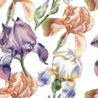 Seamless pattern with different irises