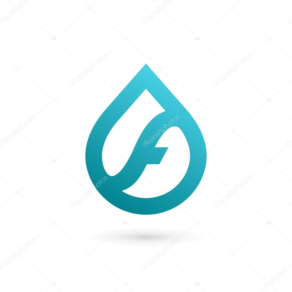 letter f water drop logo icon design template elements stock