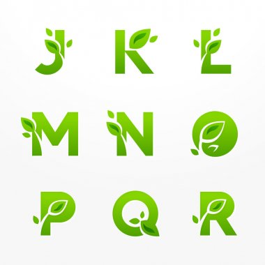 Vector set of green eco letters logo with leaves. Ecological fon