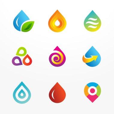 Water drop symbol vector logo icon set
