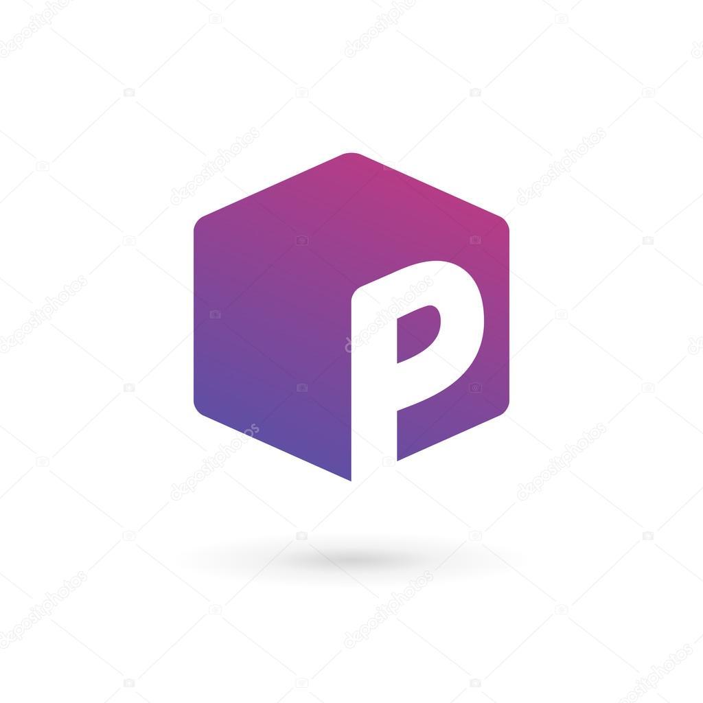 letter p cube logo icon design template elements stock vector