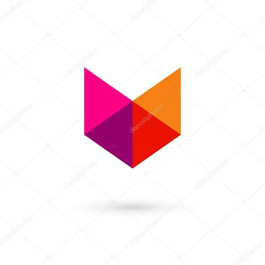 letter v mosaic shield logo icon design template elements stock