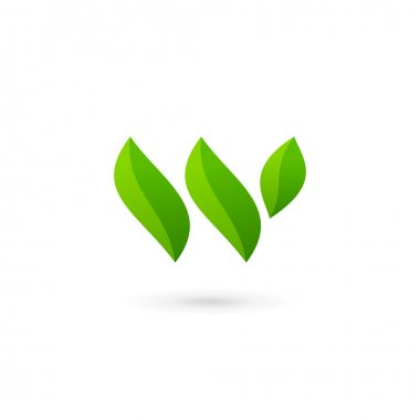 Letter W eco leaves logo icon design template elements