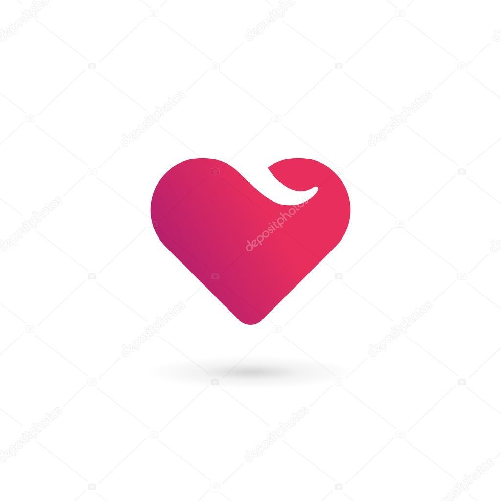 letter v heart symbol logo icon design template elements ストック