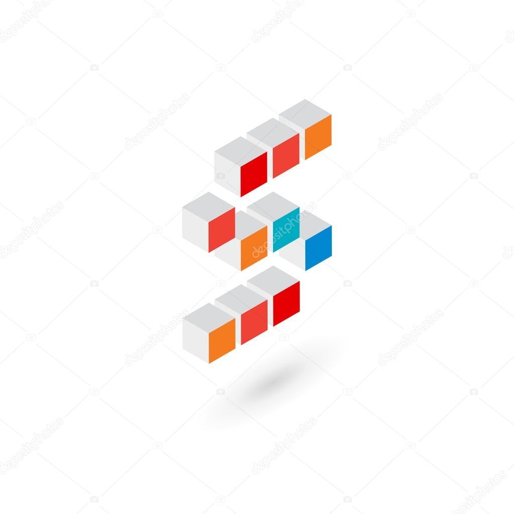 Cubo 3d Plantilla 3d Cubo Letra S Logo Icono Plantilla Elementos