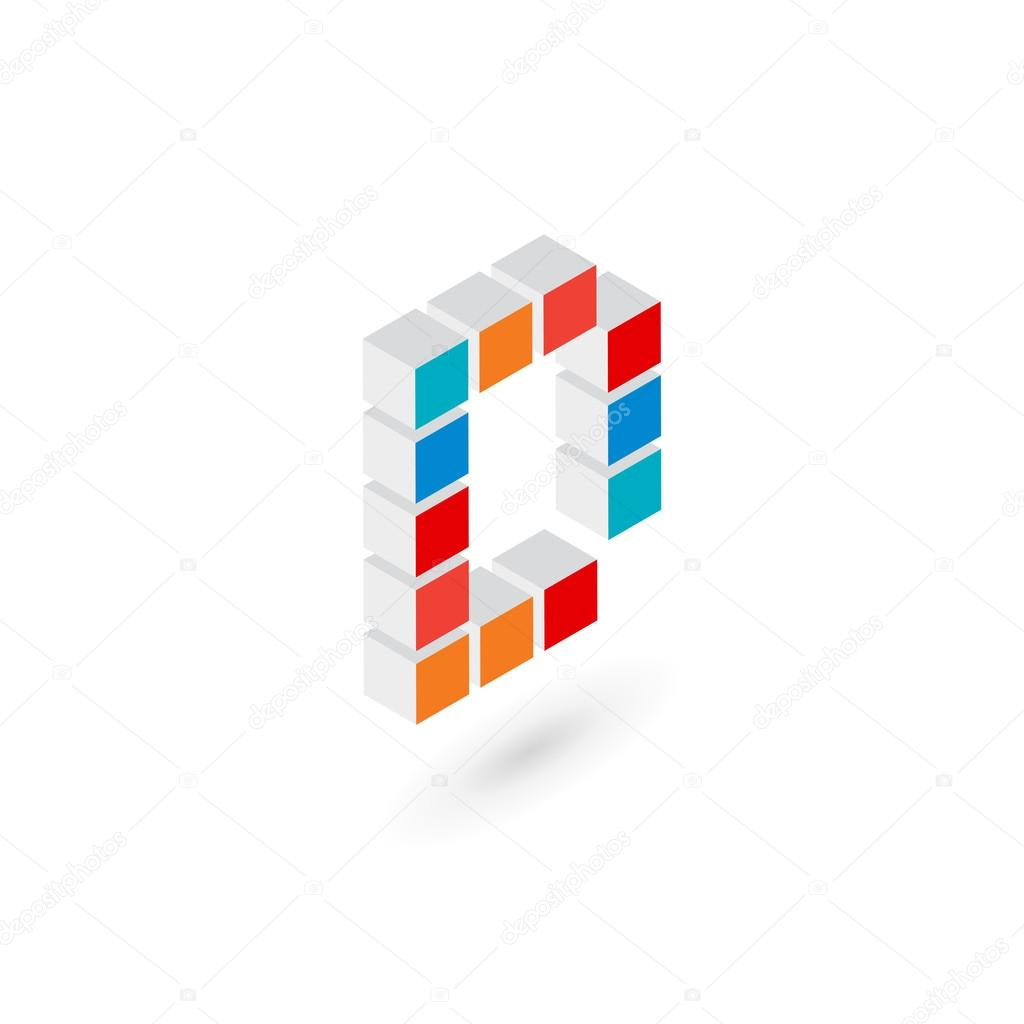 Vector Molde Cubo 3d Cubo Letra D Logo Icono Plantilla Elementos