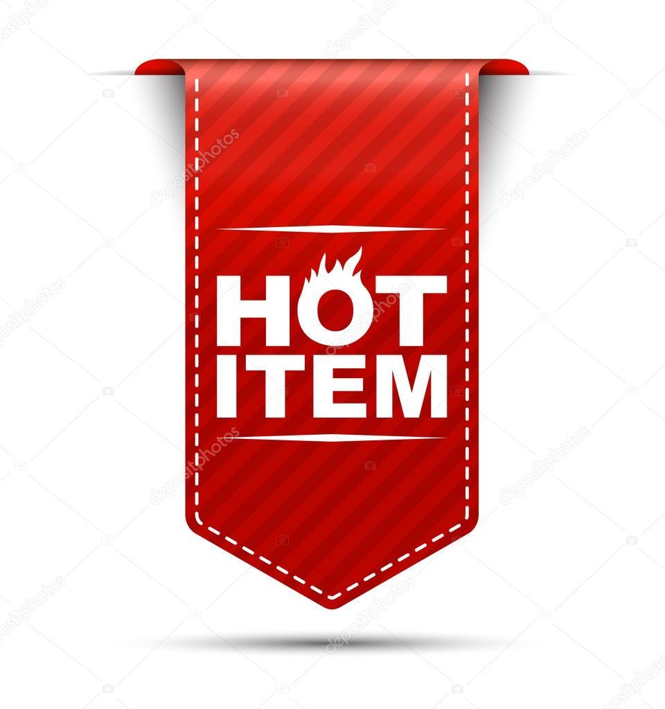 Hot item, banner hot item, red banner hot item, red vector banne —