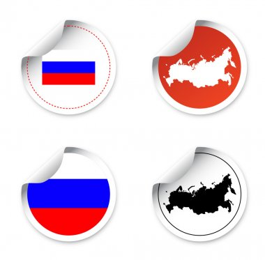 Set stickers and labels with motives state russia