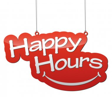 red vector illustration - background tag happy hours