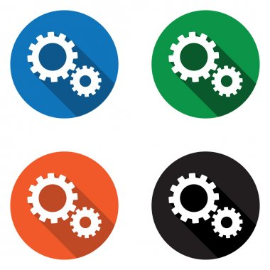 This is set vector colorful flat icons gear icon