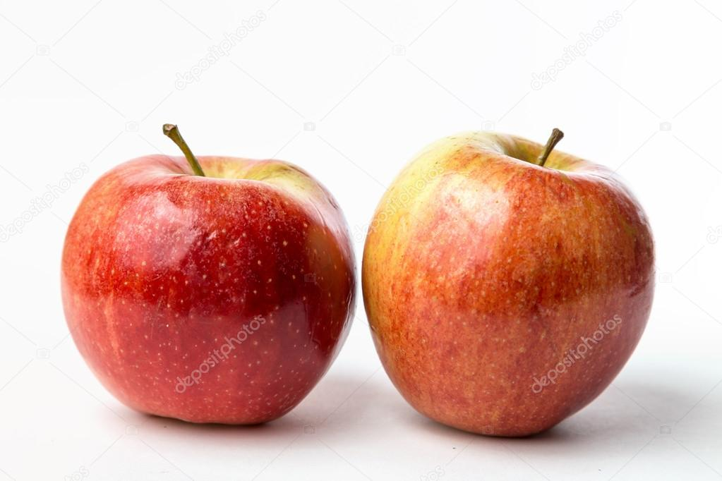 view of two red apples