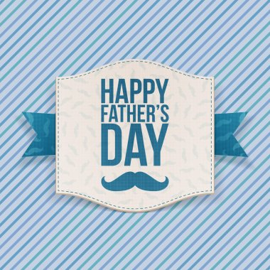 Happy Fathers Day Banner with blue Ribbon