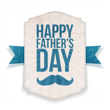 Happy Fathers Day textile Banner with Ribbon