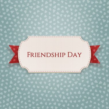 Friendship Day Emblem on red Ribbon