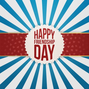 Happy Friendship Day Emblem on red Ribbon