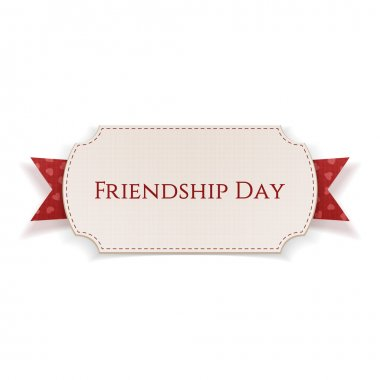 Friendship Day Banner on red Ribbon