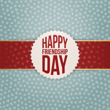 Happy Friendship Day realistic Tag on red Ribbon