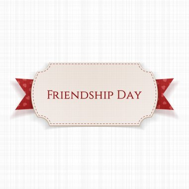 Friendship Day Label on red Ribbon