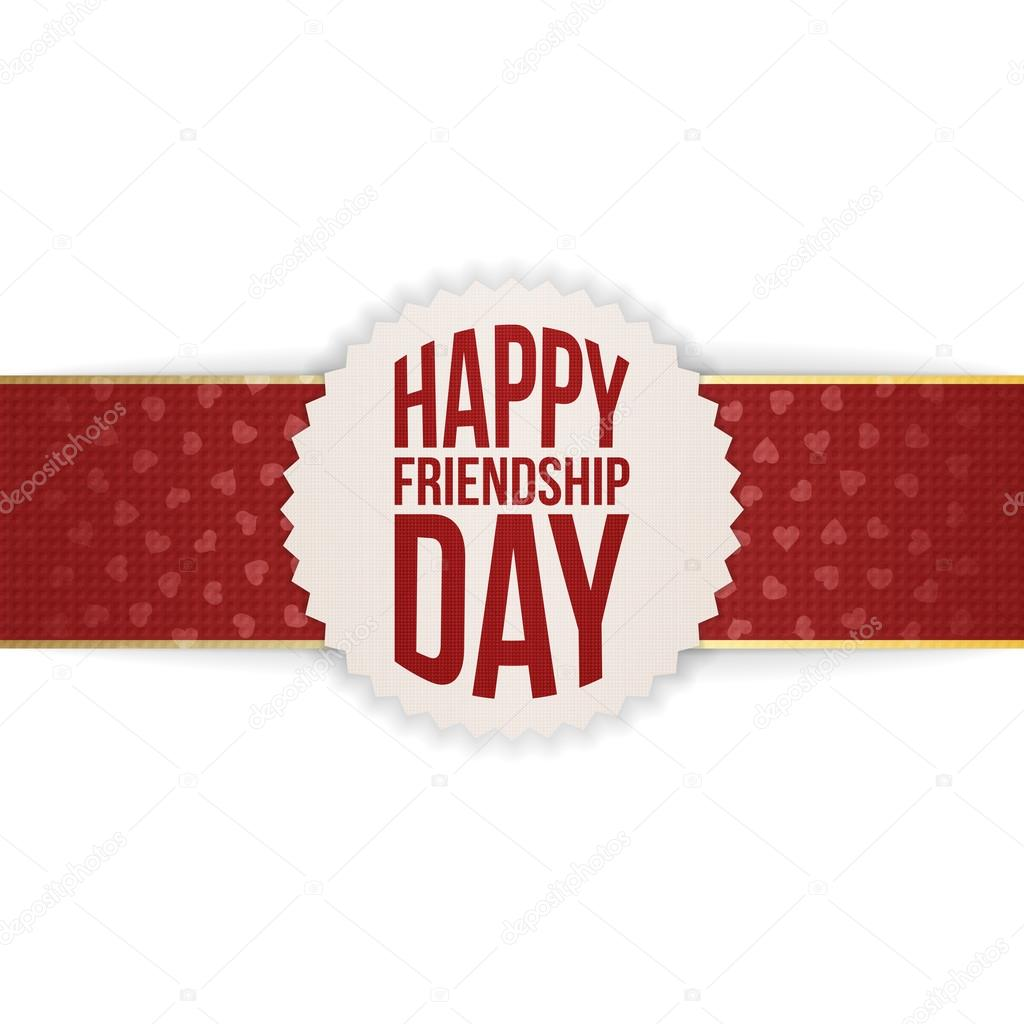 Happy Friendship Day Banner on red Ribbon