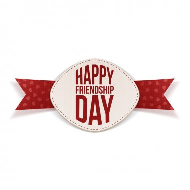 Friendship Day festive Banner and red Ribbon