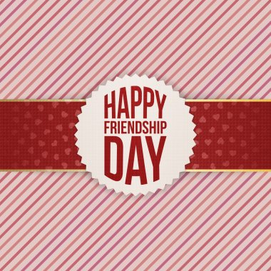 Happy Friendship Day realistic Badge on red Ribbon
