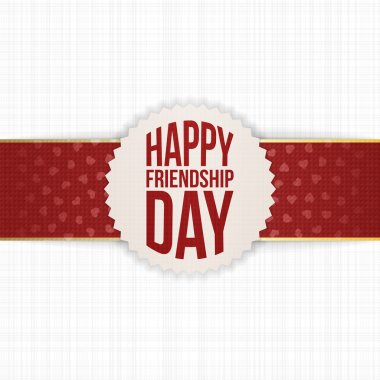 Happy Friendship Day realistic Label on red Ribbon