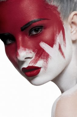 White skin, red lips and blood on face.
