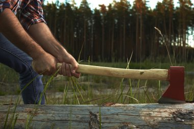 Hands of Lumberjack with Ax