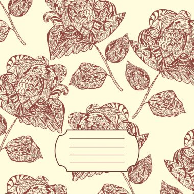 Design of Notebook Cover with hand-drawn Doodle ethnic Flowers P