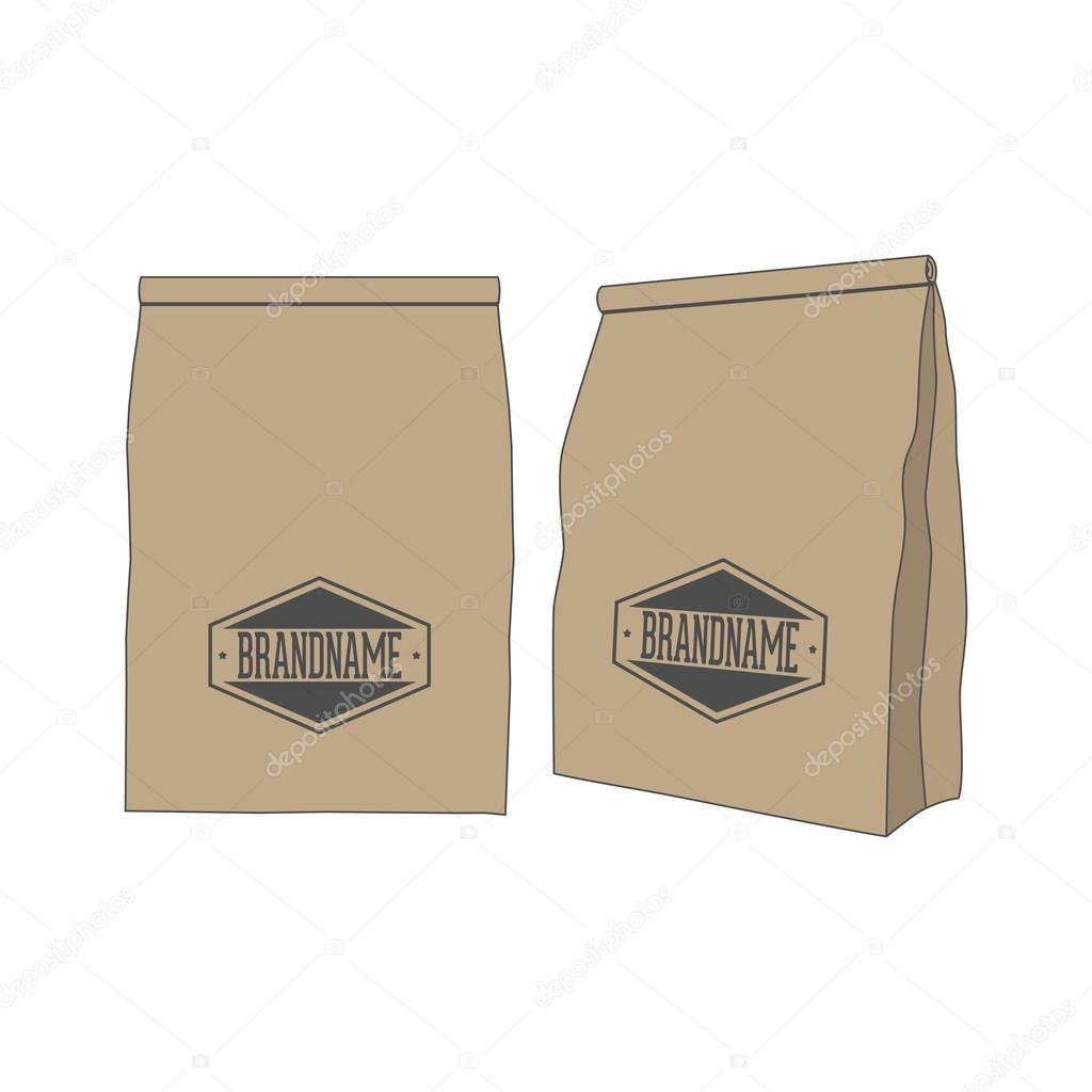 b7d6fd10aa Καφέ χαρτί τσάντα πακέτο για την ετικέτα ή το προϊόν σας– εικονογράφηση  αρχείου