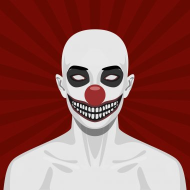 Bald scary Clown with smiling Face