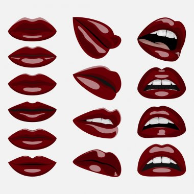 Set of glossy dark red Lips