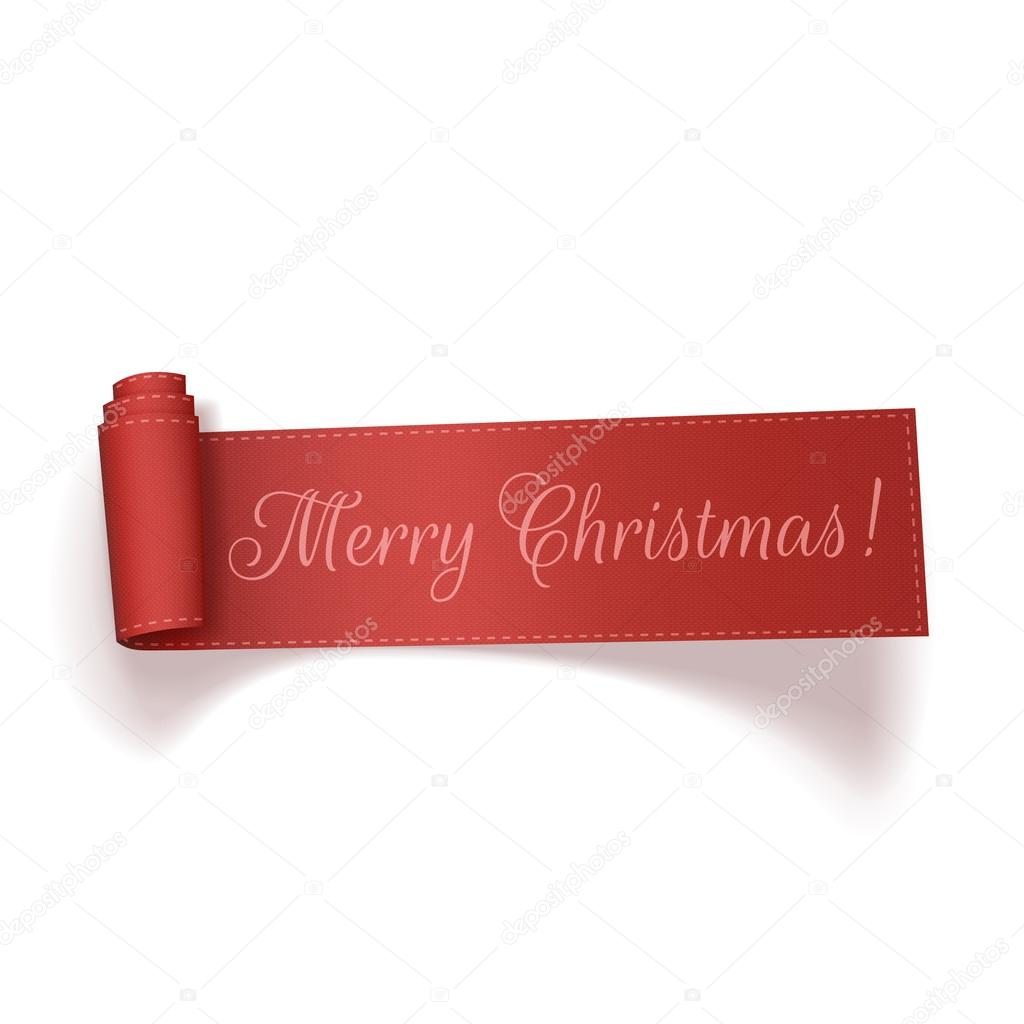 Merry Christmas red realistic curved Ribbon