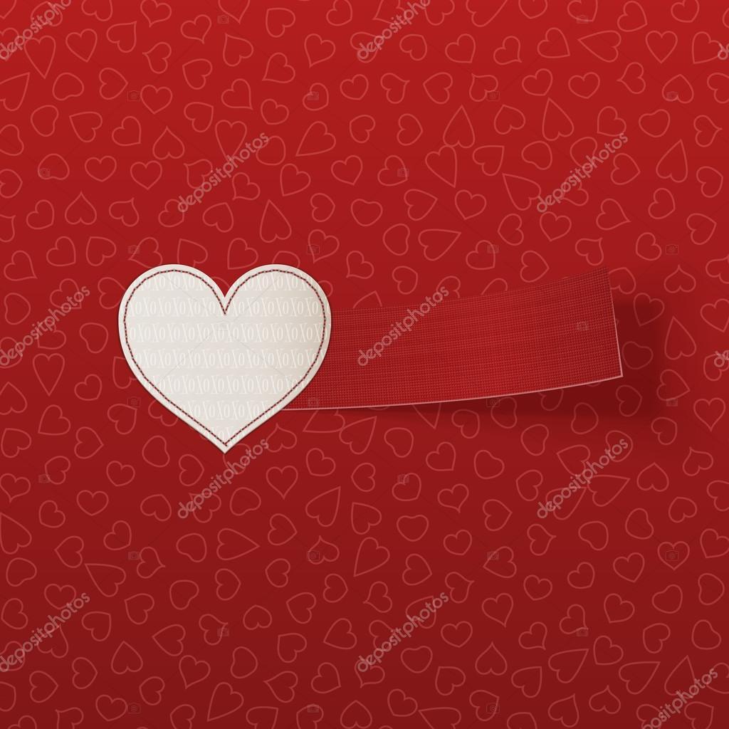 Realista Valentín blanco corazón etiqueta — Archivo Imágenes ...