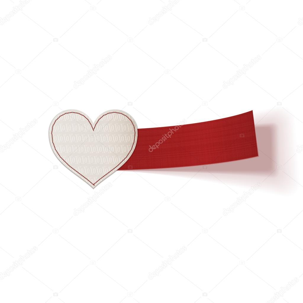 Papel realista del día de San Valentín corazón etiqueta — Archivo ...