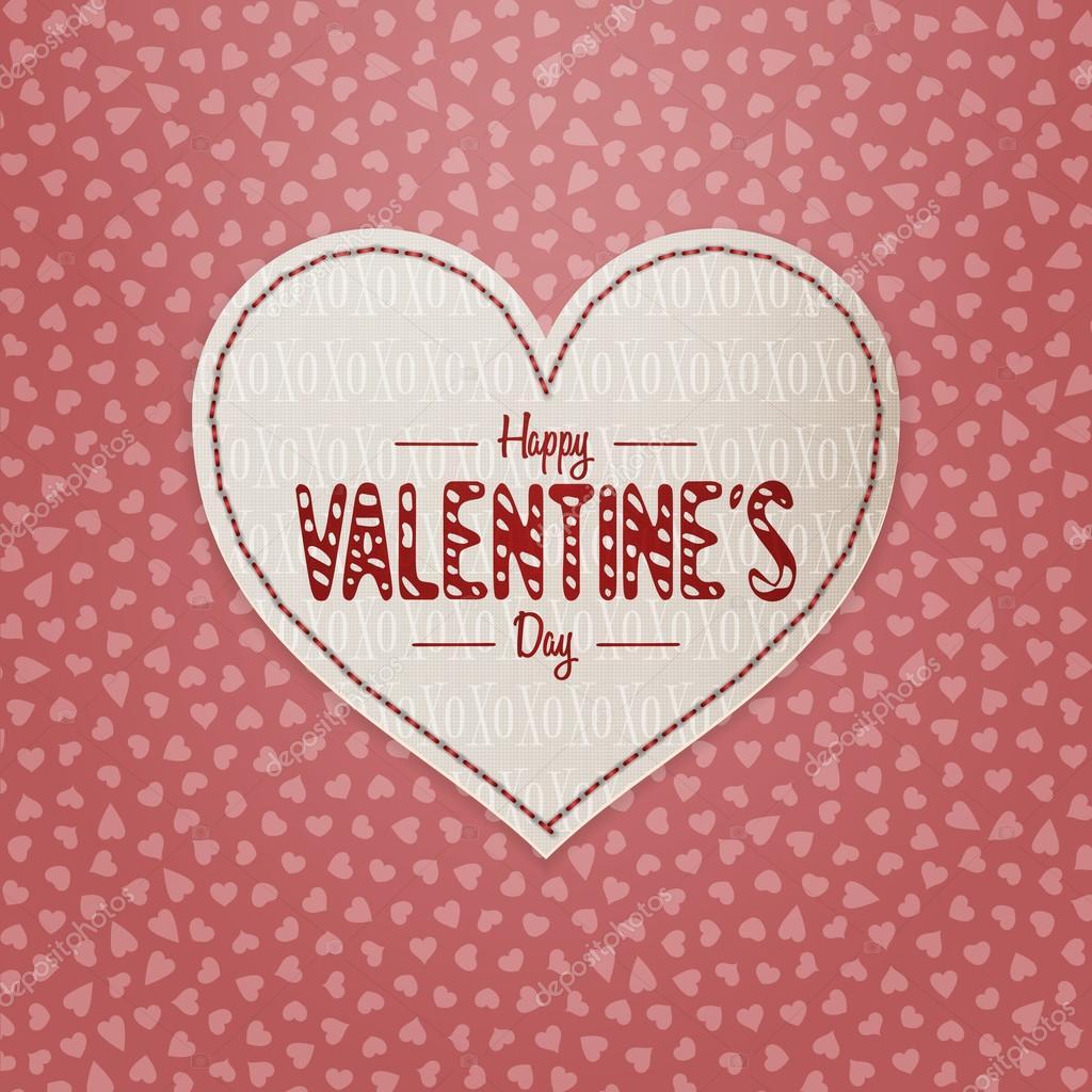 Día de San Valentín corazón etiqueta con el texto del saludo ...