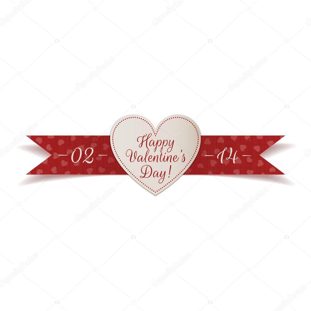 Día de San Valentín corazón etiqueta con cinta roja — Vector de ...