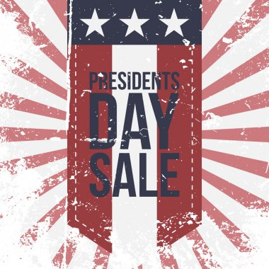Presidents Day Sale Label on striped Background