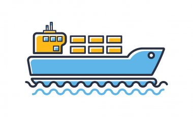 Cargo ship icon. Freighter with parcels, boxes, goods isolated on white background. Design elements, colored. Element for mobile concepts and web apps. Flat style vector illustration. icon