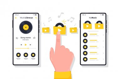 Music Player. Human hand presses play button flat style concept. Mp3 player and smartphone with open music app on screen. Man listening favorite tracks. Flat style vector illustration.