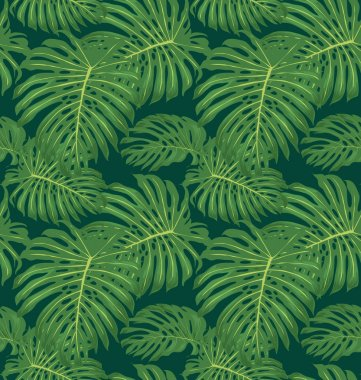 Vector seamless tropical leaves pattern clip art vector