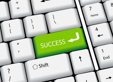 Business finance concept: computer keyboard with and word Success, selected focus on enter button. Vector Illustration