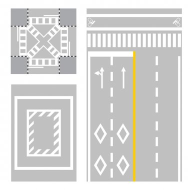 Crossing street. safety zone sign on street vector street. japan road vector illustration