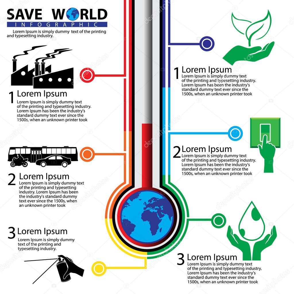 Save the world Concept Infographic, vector Illustration