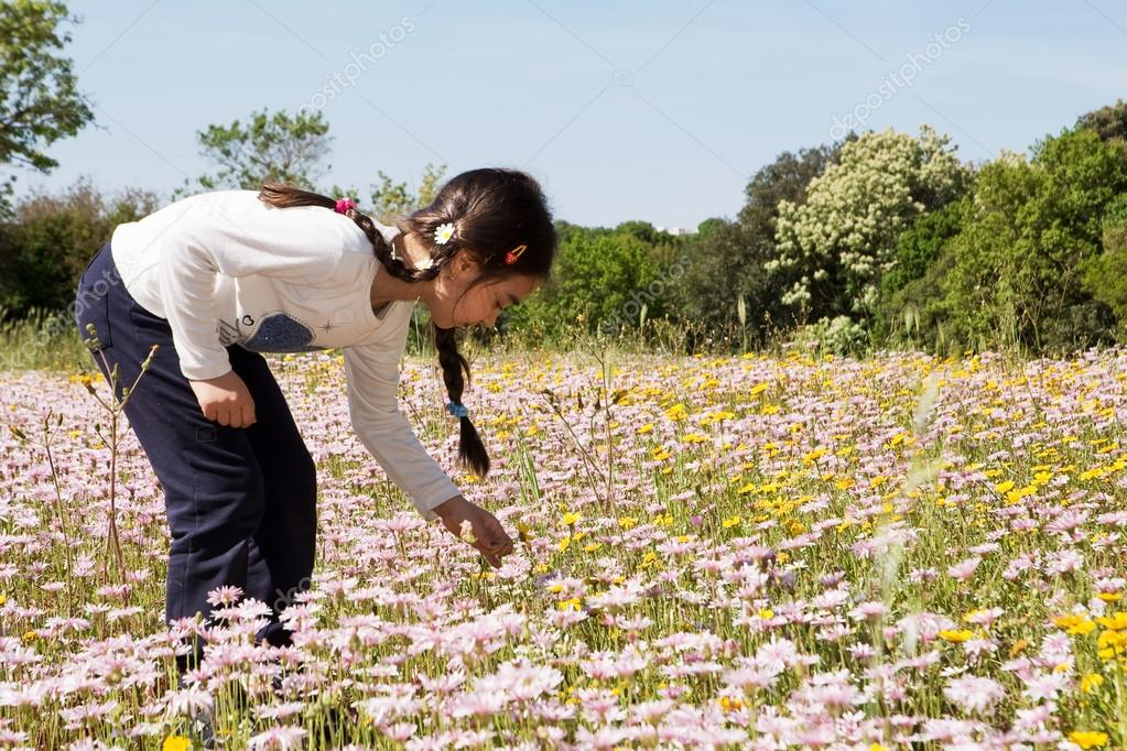 Singing little flower in the meadow nudes